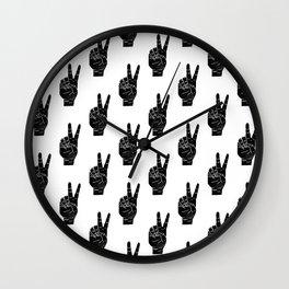 Peace sign linocut pattern black and white minimal sign language art Wall Clock