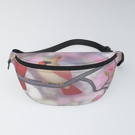 cardinals and crab apple blossoms Fanny Pack