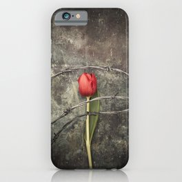 Tulip and barbed wire iPhone Case