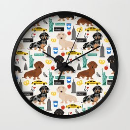 Dachshund dog breed NYC new york city pet pattern doxie coats dapple merle red black and tan Wall Clock