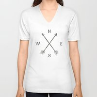 clear V-neck T-shirts featuring Compass (Natural) by Zach Terrell