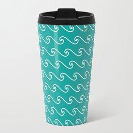 Wave Pattern | Teal and White Travel Mug