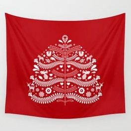 Scandinavian Folk Art Christmas Tree Wall Tapestry