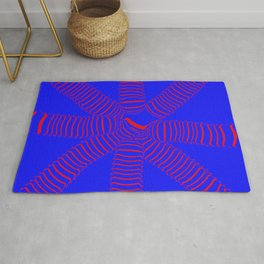 8 arms, red on blue Rug