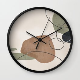 Linkedin Abstract in Sage Green, Cinnamon and Charcoal Grey Wall Clock