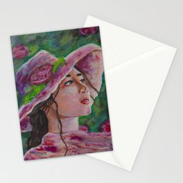 Woman with sunhat Stationery Cards