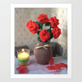 Hand knitted Roses and Vase Art Print