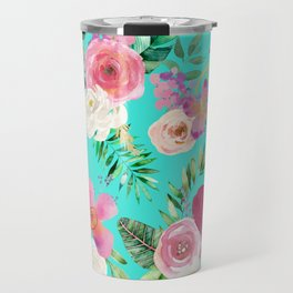 Summer Tropical Floral Bouquet in Turquoise Travel Mug
