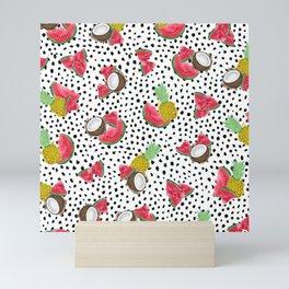 Artsy Tropical Fruit Polka Dots Watercolor Pattern Mini Art Print