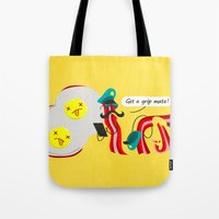 bacon Tote Bags featuring Bacon by Bakal Evgeny