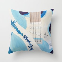 Blue Guitar and Strap Throw Pillow
