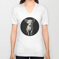 chihuahua V-neck T-shirts featuring Chihuahua dog  by Sara.pdf