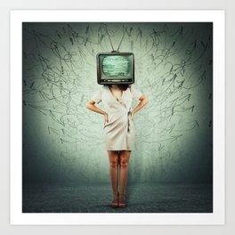 old tv head Art Print