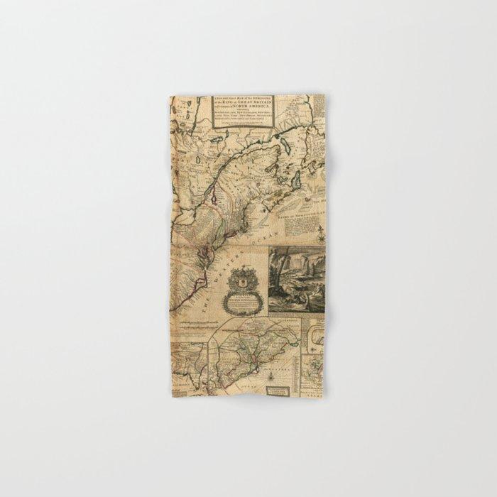 Map of North America (British Colonies) 1731 Hand & Bath Towel