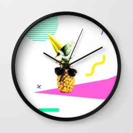 Pineapple Party in Memphis Wall Clock