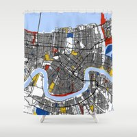 new orleans Shower Curtains featuring New Orleans by Mondrian Maps