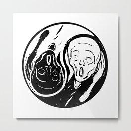 Yin Yang The Scream Metal Print