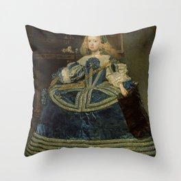 Diego Rodriguez de Silva y Velázquez - Infanta Margarita Teresa in a Blue Dress Throw Pillow