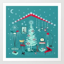 Retro Holiday Decorating ii Art Print