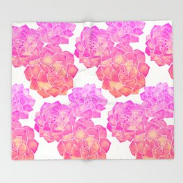 Rosette Succulents – Pink Palette Throw Blanket