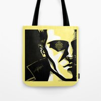 karma Tote Bags featuring Karma by Oh Ben!