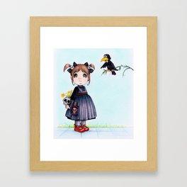 girl and crow - Illustration ,cartoons Framed Art Print