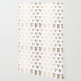 Luxe Gold Hearts on White Wallpaper