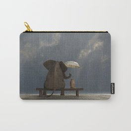 elephant and dog sit under the rain Carry-All Pouch