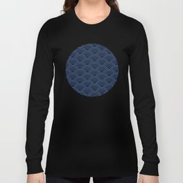 Japanese Blue Wave Seigaiha Indigo Super Moon Pattern Long Sleeve T-shirt