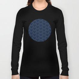 Japanese Blue Wave Seigaiha Indigo Super Moon Pattern Long Sleeve T-shirt