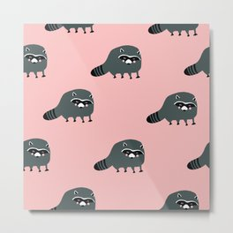 Pink Cute Racoon Metal Print