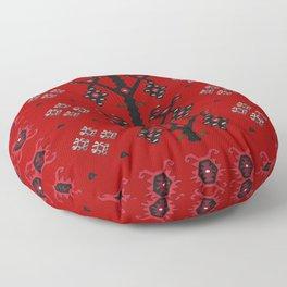Red Tribal Ethnic Boho Kilim Love Birds Floor Pillow