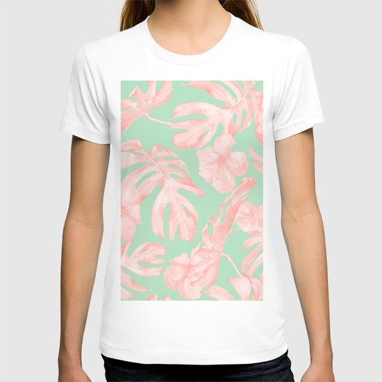 Tropical Palm Leaves Hibiscus Pink Mint Green by followmeinstead