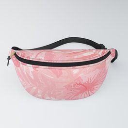 Living Coral Tropical Palm Jungle Fanny Pack