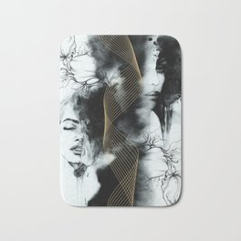 Abstract fashion with golden lines Bath Mat
