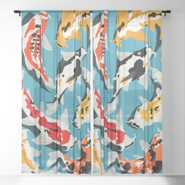 Colorful Koi Carps Swimming Around Sheer Curtain