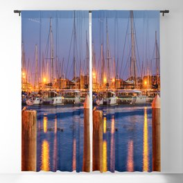 Marina Del Rey Harbor At Night Blackout Curtain