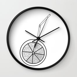 orange cocktail with a straw . cocktail Wall Clock