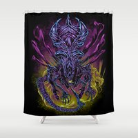 spawn Shower Curtains featuring LONG LIVE THE QUEEN (color) by BeastWreck
