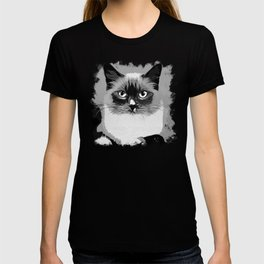 blue eyes ragdoll cat vector art black white T-shirt