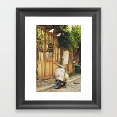 Vintage Vespa in Paris Framed Art Print