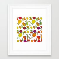 fruits Framed Art Prints featuring Fruits by VessDSign
