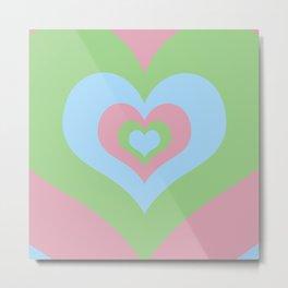 Radiating Hearts Pink, Blue, and Green Metal Print