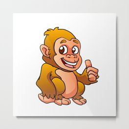 baby gorilla cartoon Metal Print