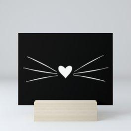Cat Heart Nose & Whiskers White on Black Mini Art Print