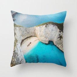 Navagio Shipwreck Beach Throw Pillow
