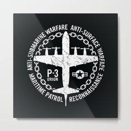 P-3 Orion Naval Maritime Patrol Anti-Submarine Warfare Aircraft Metal Print