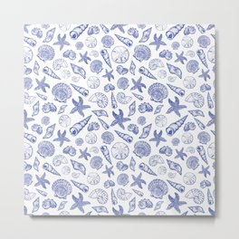 Blue Seashell Print Metal Print