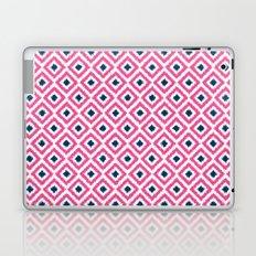Pink and Navy Blue Diamonds Ikat Pattern Laptop & iPad Skin