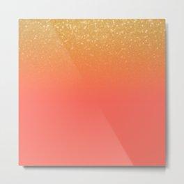 Living Coral Gold Glitter Metal Print